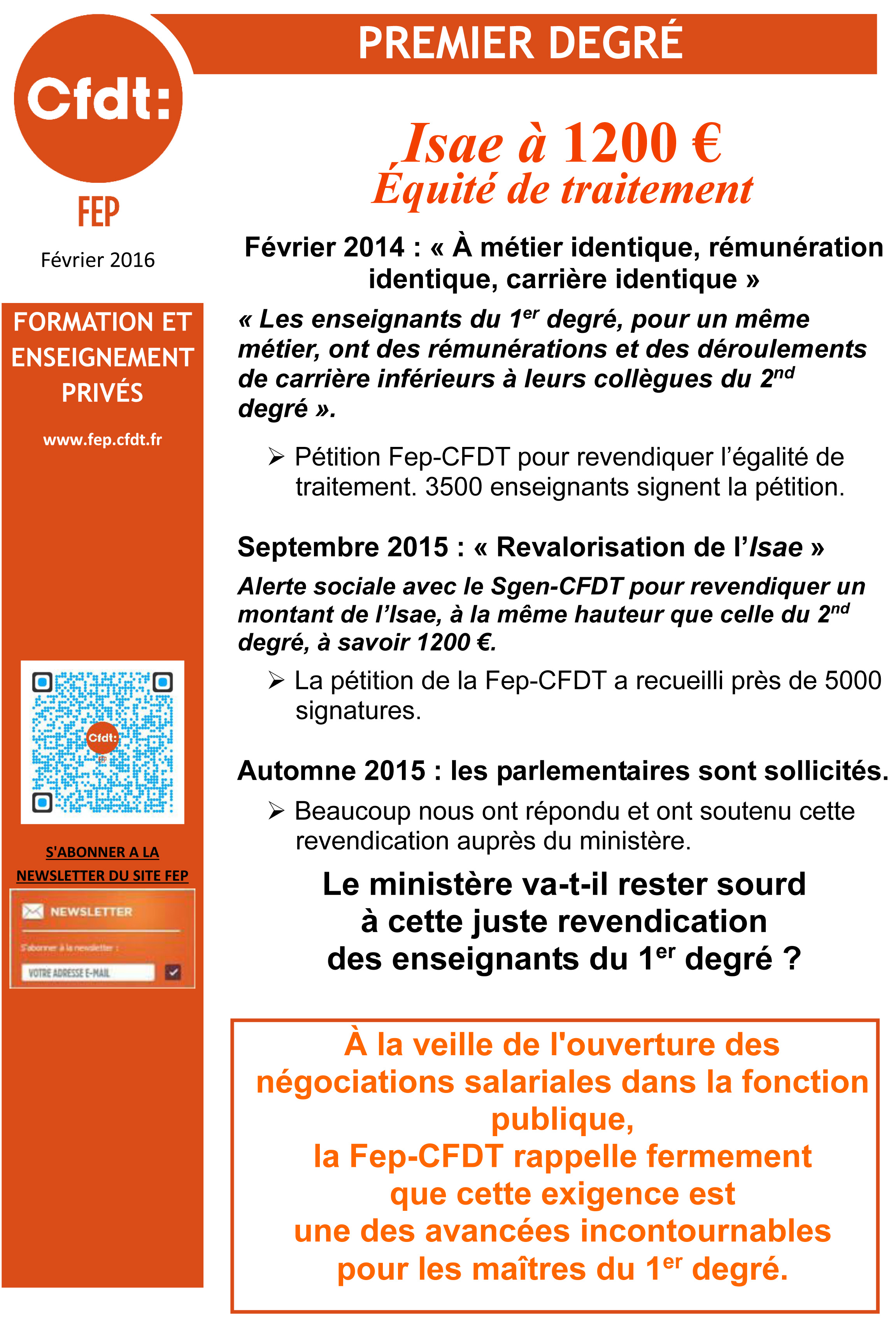 Affichette - Rappel Actions FEP-CFDT ISAE